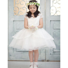 Little Girls Pretty A-Line Knee Length Satin Organza Flower Girl Dress