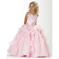 Ball Gown Straps Floor Length Satin Flower Girl Dress