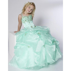 Beautiful Ball Gown Straps Floor Length Pick-Up Flower Girl Dress