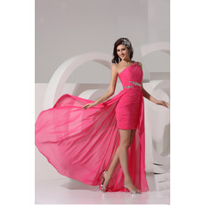 Elegant Sheath One Shoulder Short/ Mini Chiffon Prom Evening Dress for Women