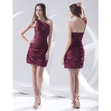 Affordable Column One Shoulder Short Satin Homecoming/ Party Dress