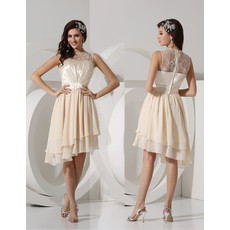 Custom A-Line Knee Length Asymmetric Chiffon Homecoming/ Party Dress