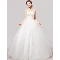 Custom Modern Ball Gown Applique Sweetheart Floor Length Satin Wedding Dress