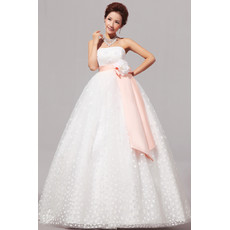 Modern Empire Strapless Floor Length Organza Dress for Spring Wedding