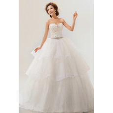 Inexpensive Gorgeous Tiered Ball Gown Sweetheart Long Organza Wedding Dress
