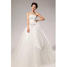 Custom Modern Ball Gown Strapless Floor Length Organza Wedding Dress