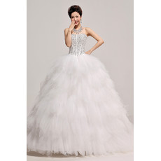 Inexpensive Gorgeous Beaded Ruffle Ball Gown Sweetheart Organza Wedding Dress