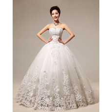 Affordable Embroidery Ball Gown Floor Length Organza Wedding Dress