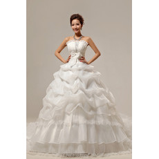 Custom Gorgeous Chapel Train Ball Gown Strapless Organza Dress for Spring Wedding