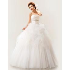 Discount Gorgeous Strapless Organza Ball Gown Floor Length Wedding Dress