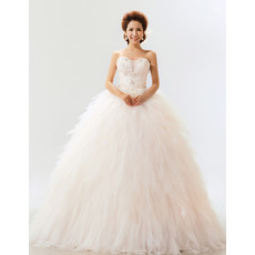 Stunning Ruffle Organza Sweetheart Ball Gown Long Dress for Spring Wedding