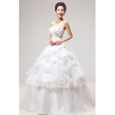 Inexpensive Gorgeous Applique Ball Gown Strapless Floor Length Wedding Dress