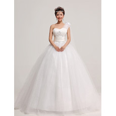 Modern Organza One Shoulder Ball Gown Floor Length Dress for Spring Wedding
