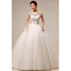 Custom Modern Lace Short Sleeves Ball Gown Floor Length Wedding Dress