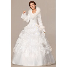 Gorgeous Long Sleeves Satin Ball Gown Floor Length Dress for Winter Wedding