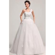 Modern One Shoulder Ball Gown Floor Length Satin Dress for Spring Wedding