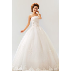 Modern Inexpensive Ball Gown Strapless Floor Length Organza Wedding Dress