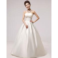 Modern Simple A-Line Strapless Floor Length Satin Wedding Dress