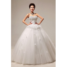 Modern Beaded Sweetheart Ball Gown Floor Length Satin Dress for Spring Wedding