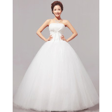 Discount Classic Modern Ball Gown Strapless Floor Length Satin Wedding Dress
