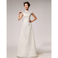 Affordable Modern Lace Mandarin Collar Cap Sleeves A-Line Wedding Dress