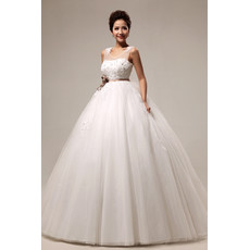 Modern Elegant Empire Waist Floor Length Organza Dress for Spring Wedding