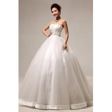 Discount Modern Ball Gown Strapless Floor Length Satin Beaded Wedding Dress