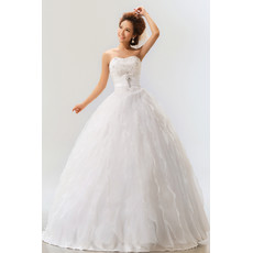 Amazing Tiered Skirt Organza Ball Gown Strapless Dress for Spring Wedding