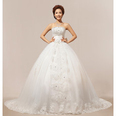 Discount Modern Classic Chapel Train Ball Gown Strapless Organza Wedding Dress