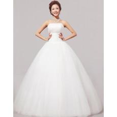 Cheap Modern Ball Gown Strapless Floor Length Organza Dress for Spring Wedding