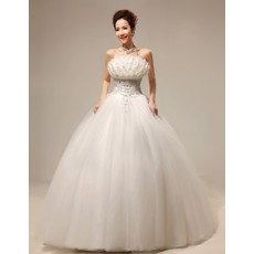 Inexpensive Amazing Ball Gown Floor Length Wedding Dress with 3D Flowers