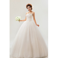Custom Modern Strapless Floor Length Organza Ball Gown Dress for Spring Wedding