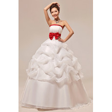 Affordable Gorgeous Ball Gown Strapless Long Wedding Dress with Red Belts
