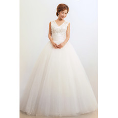 Cheap Modern V-Neck Ball Gown Floor Length Organza Dress for Spring Wedding