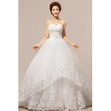 Custom Modern Strapless Floor Length Organza Ball Gown Wedding Dress