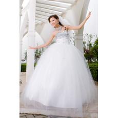 Gorgeous Ball Gown Strapless Long Organza Rhinestone Wedding Dress