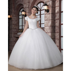 Custom Modern Cap Sleeves Ball Gown Scoop Floor Length Organza Wedding Dress