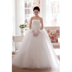 Amazing Empire Waist Strapless Floor Length Organza Wedding Dress