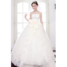 Custom Beautiful Elegant Ball Gown Strapless Floor Length Beaded Wedding Dress