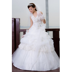 Affordable Stunning Elegant Halter Ball Gown Floor Length Organza Wedding Dress