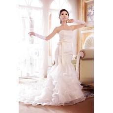 Beautiful Mermaid Court Train Ruffle Strapless Organza Wedding Dress