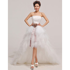 Affordable Stunning High-Low A-Line Strapless Ruffle Wedding Dress with Sashes