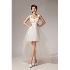 Amazing Informal Asymmetric High-Low Empire Straps Organza Wedding Dress