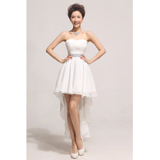 Cheap Charming Asymmetric High-Low Chiffon A-Line Sweetheart Dress for Summer Wedding