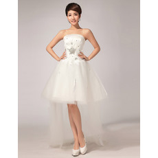 Custom Charming Asymmetric High-Low A-Line Strapless Organza Wedding Dress