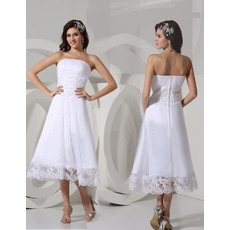 Affordable A-Line Strapless Satin Tea Length Summer Beach Wedding Dress