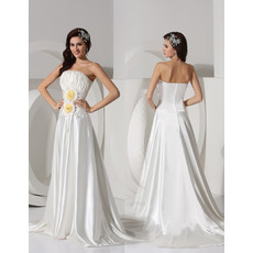 Affordable Modern A-Line Strapless Court Train Satin Wedding Dress