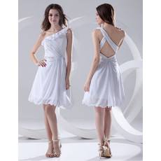 Chic Sexy A-Line One Shoulder Short Chiffon Summer Beach Wedding Dress