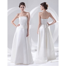 Simple Elegant A-Line Strapless Floor Length Satin Wedding Dress