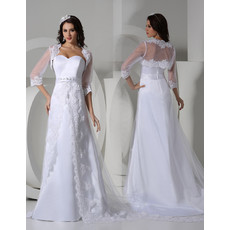 Modern Sweetheart Sweep Train Satin Wedding Dress with Jackets